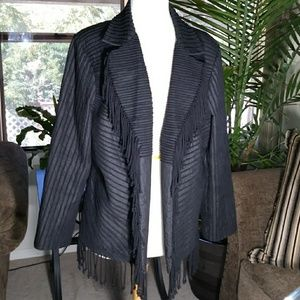 Victor Costa Fringed Open Front Coat